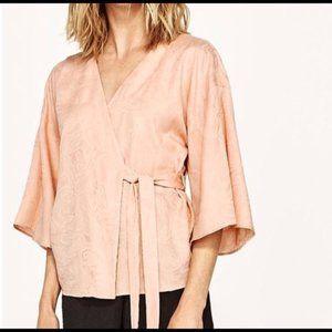 Zara Jacquard Print Pink Kimono Wrap Blouse
